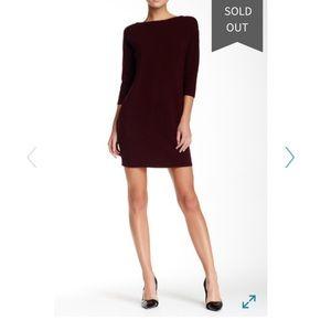 Vince Sweater Front/Silk Back Dress in Shiraz